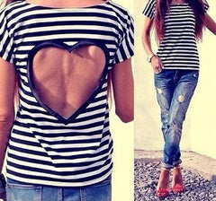 ON SALE HOT STRIPE BACKLESS HEART TOP