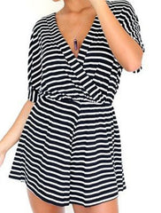 STRIPE CONJOINED SHORTS FASHION SEXY V-NECK CULTIVATE ONE'S MORALITY DRESS