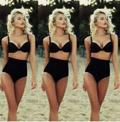 ON SALE PURE COLOR OF TALL WAIST A BATHING SUIT BLACK SWIMSUIT