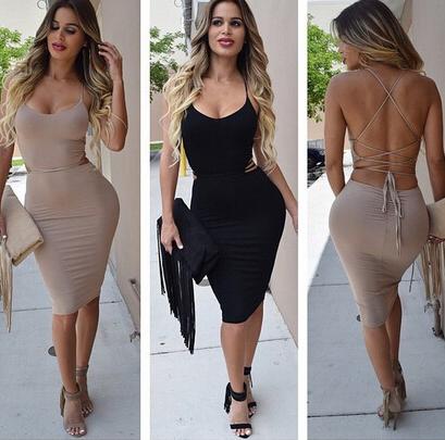 HOT STRAPS SEXY BACKLESS DRESS