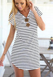 ON SALE CUTE STRIPE SHORT SLEEVE DRESS