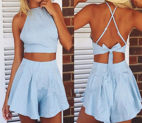 HOT BLUE TWO PIECE ROMPER