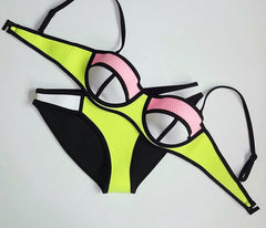 A99944 CONTRAST COLORFUL BIKINIS SWIMWEAR