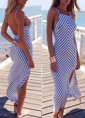 HOT STRIPE LONG CUTE DRESS