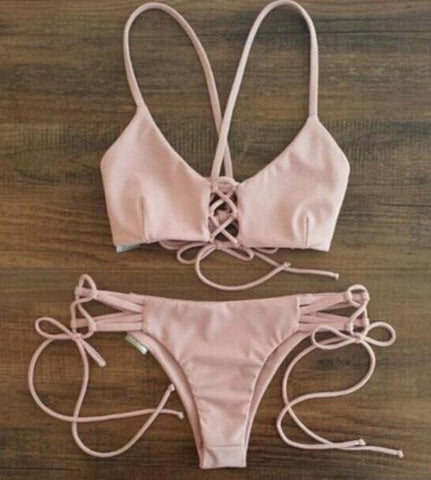 A99959 HOT PINK CUTE TWO PIECE SEXY BIKINI