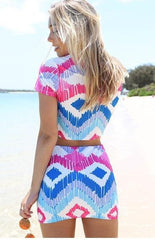 HOT TWO PIECE COLORFUL SUIT DRESS