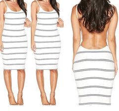 HOT BACKLESS STRIPE STRAPS DRESS