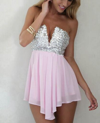 CUTE HOT STRAPLESS SEQUINS SHINING DRESS