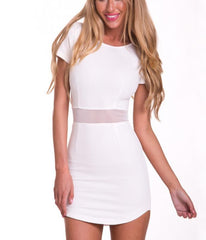 HOT CUTE WAIST SEXY DESIGN FRESH SHORT SLEEVE DRESS