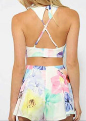 HOT FLOWER TWO PIECE CROSS BACKLESS SUIT