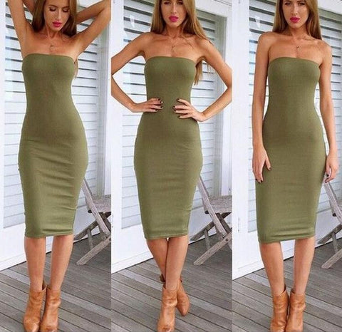 HOT GREEN STRAPLESS DRESS