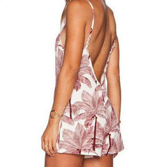 SEXY V-NECK BACKLESS LEAVES PRINTING CONDOLE BELT JUMPSUIT