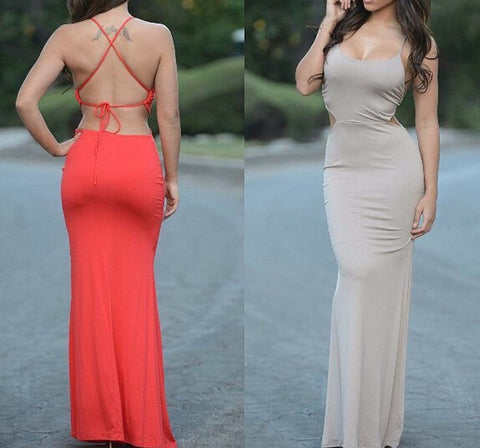 CUTE SEXY BACKLESS TWIST DRESS