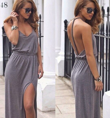 CUTE GREY COTTON BACKLESS DRESS