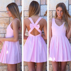 HOT BACKLESS BOW CROSS SEXY DRESS