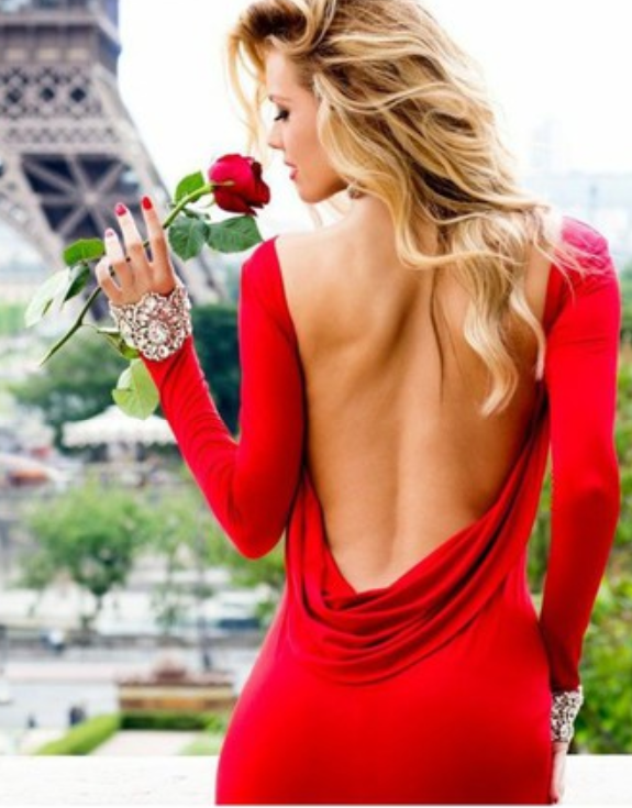 Sexy red backless dress