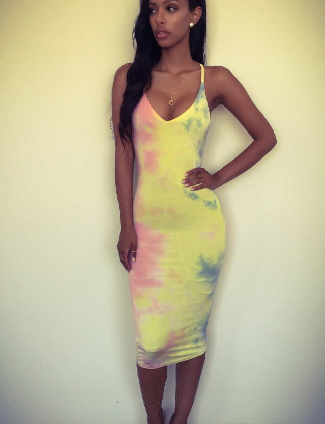 HOT GRADIENT STRAPS DRESS