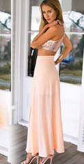 HOT SHINING SEQUINS TWO PIECE DRESS