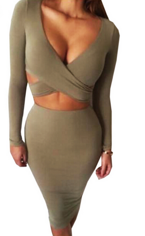 HOT LONG SLEEVE GREEN AND KHAKI DRESS