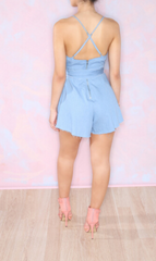 HOT CUTE BLUE BOW ROMPER JUMPSUIT