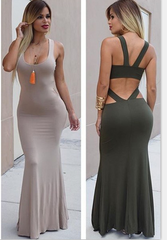 SLEEVELESS VEST HOLLOW-OUT BACKLESS DRESS IRREGULAR SKIRT OF TALL WAIST OF THE DRESS