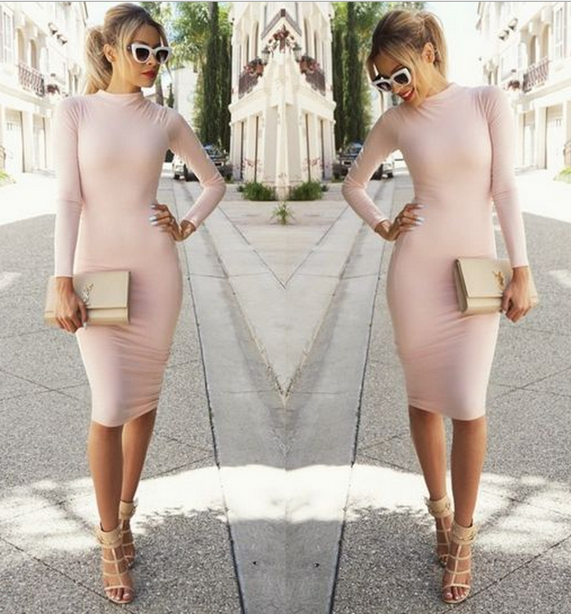 CUTE HIGH COLLAR SHOW BODY DRESS