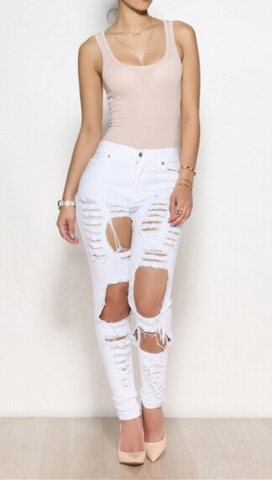 SEXY FASHION RIPPED JEANS FEET PANTS PANTS STRETCH PANTS BEGGARS