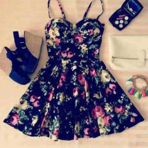HOT STRAPS CUTE FLORAL DRESS