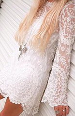 ELEGANT SEE-THROUGH LACE LONG SLEEVE DRESS
