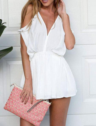 V-NECK CONDOLE OFF-THE-SHOULDER LOOSE WAIST ULTRASHORT CHIFFON CONJOINED DIVIDED SKIRTS