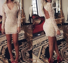 HOT V LACE LONG SLEEVE BACKLESS DRESS