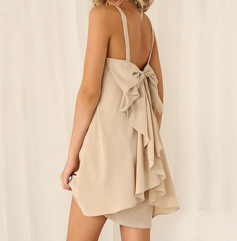 A99988 HOT CHIFFON BOW STRAPS DRESS