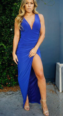Cute blue hot design show body dress