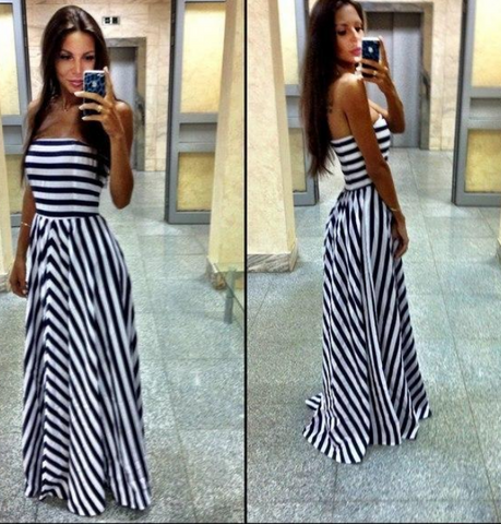 Hot stripe strapless dress high quality