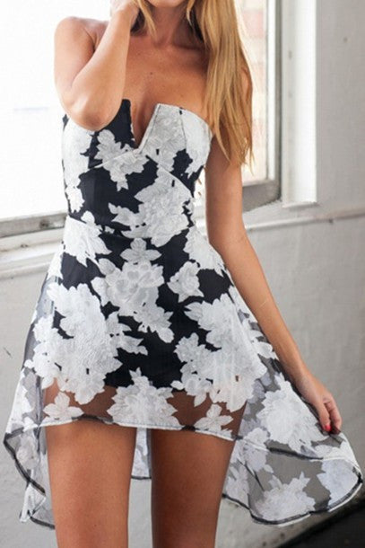 HOT STRAPLESS SEXY FLOWER IRREGULAR DRESS