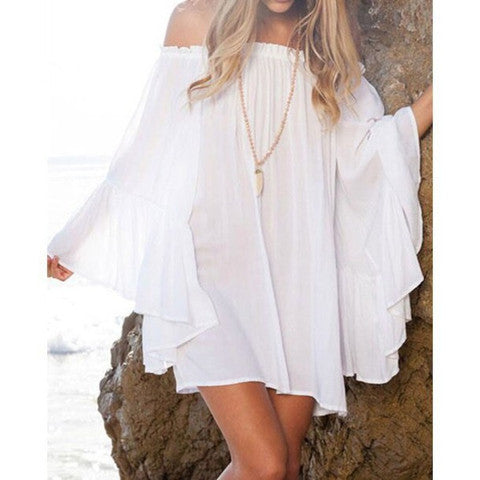 ON SALE CUTE HOT SHOULDER DESIGN CHIFFON ONE WORD DRESS