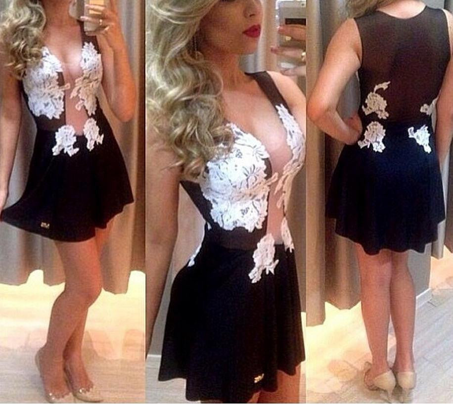 ON SALE A WHITE LACE TRANSPARENT GAUZE SPLICING SEXY DRESS