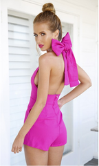 HOT BACKLESS BIG BOW JUMPSUIT PLAYSUIT ROMPER
