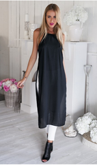 CONDOLE BELT SPLIT SEXY CONJOINED GOWN LONG SHIRT DRESS