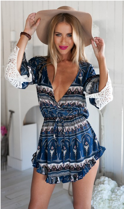 CUTE LACE PRINT LONG SLEEVE DEEP V ROMPER JUMPSUIT PLAYSUIT