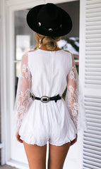 RUFFLED LACE STITCHING CHIFFON DEEP V CONJOINED SHORTS