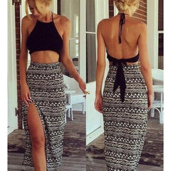Cute black grey two piece dress