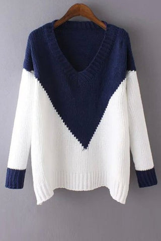 FRESH CUTE CONTRAST BLUE WHITE SWEATER