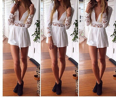 CUTE V LACE JUMPSUIT