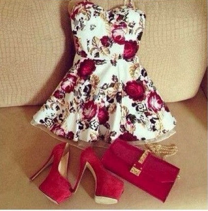 FASHION CUTE STRAPLESS FLOWER DRESS