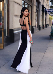 Condole belt strapless backless Black and white dress