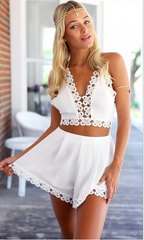 CONDOLE BELT V-NECK BACKLESS TWO-PIECE OUTFIT