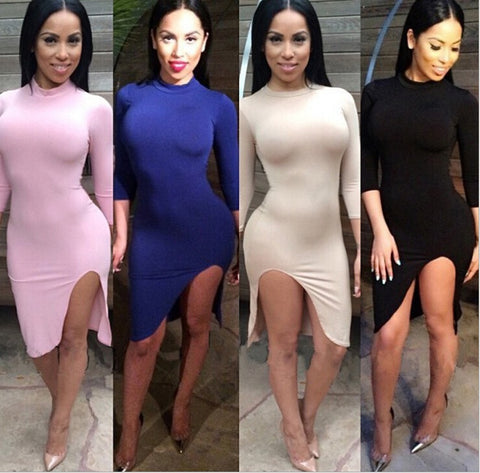 CUTE 3/4 SLEEVE FORK SHOW BODY DRESS