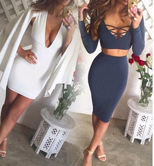 CUTE DEEP V TWO PIECE DRESS