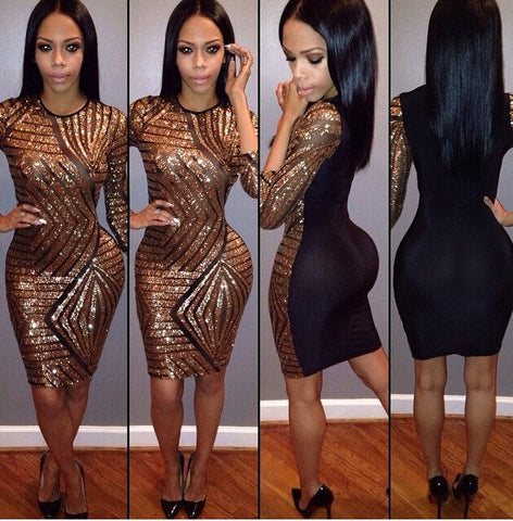CUTE BLACK GOLDEN LONG SLEEVE DRESS